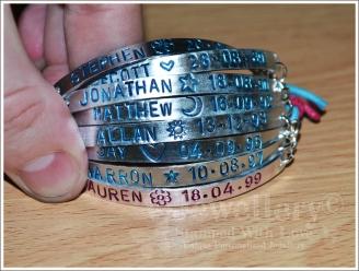 Personalised 8 Multi-Plate Hand Stamped Bracelet