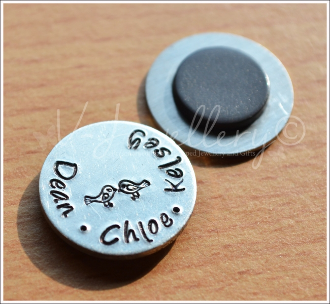 Personalised Hand Stamped Magnets & Tokens