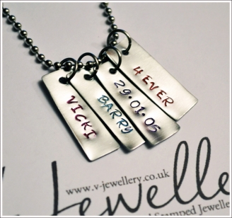 """Personalised Mini Tags Hand Stamped Pendant 20"""""""