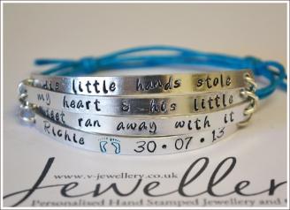 """""""Little hands stole my heart & litte feet ran away with it"""" Multi-Plate Bracelet"""