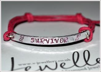 """Awareness """"Survivor"""" Hand Stamped Textured Hammered Bracelet"""