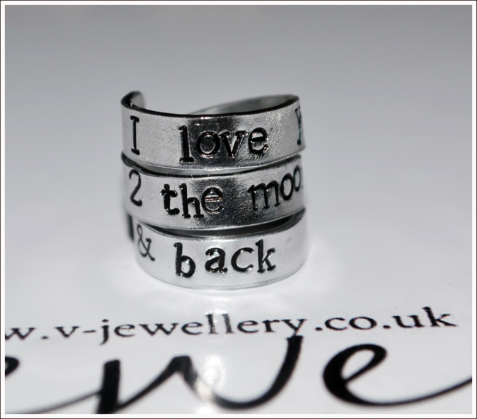 """""""I love you 2 the moon and back"""" Hand Stamped 3 Wrap Ring"""