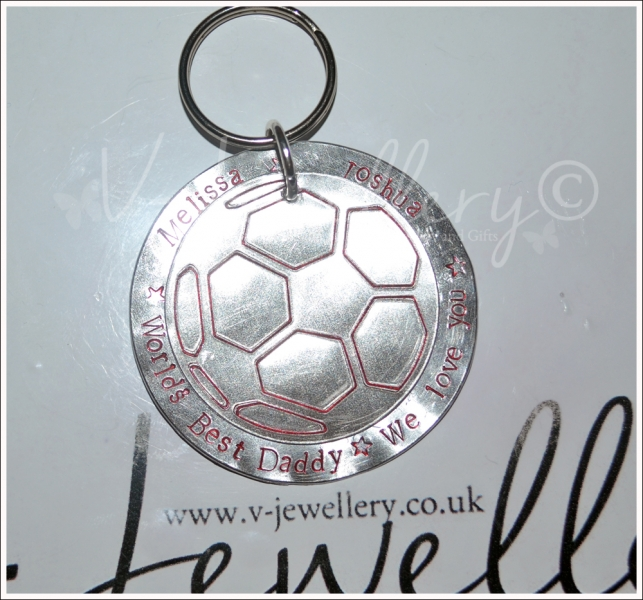 Personalised Extra Large Etched Football Layered Disc Keyring