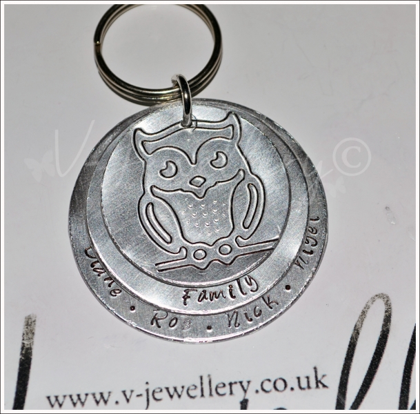 Personalised Etched Owl Large Triple Layered Disc Keyring