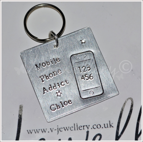 Personalised Etched Mobile Phone Large Keyring