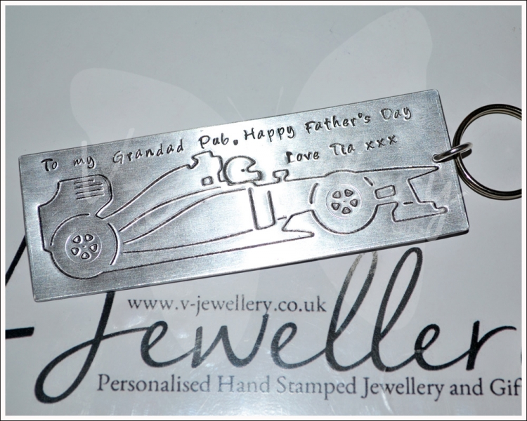 Personalised Etched Racing Car XL Keyring