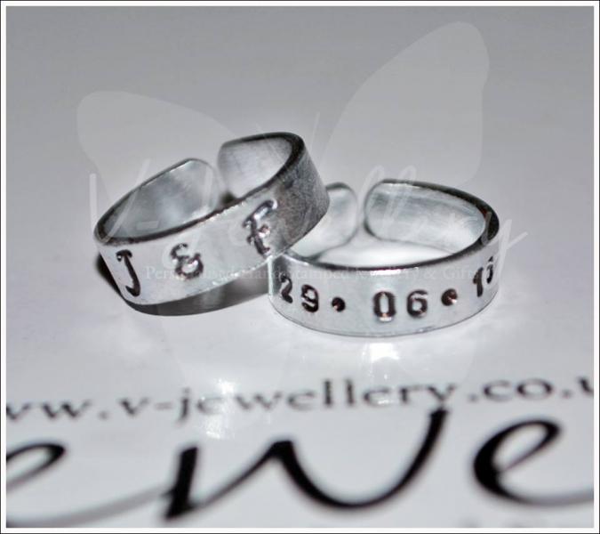 Personalised Hand Stamped Set of 2 Toe Rings