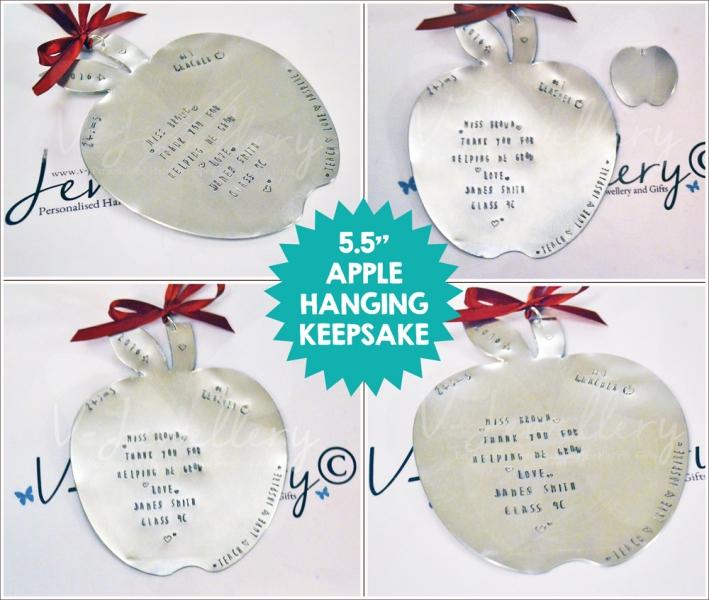 """Personalised Hand Stamped Apple Hanging Keepsake (5.5"""")"""