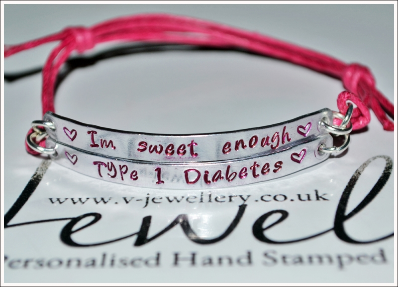 """Im sweet enough"" Diabetic Hand Stamped Double Plate Bracelet"