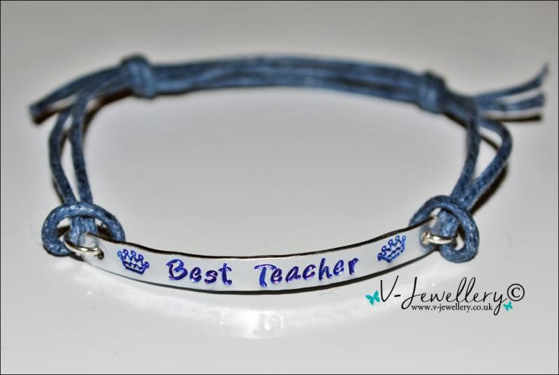 Best Teacher Hand Stamped Bracelet