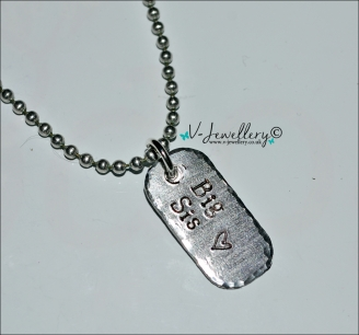 """Sister Hand Stamped Mini Dog Tag Pendant 20"""" *Stainless Steel*"""