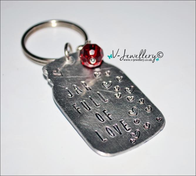 Personalised Hand Stamped Jar Keyring
