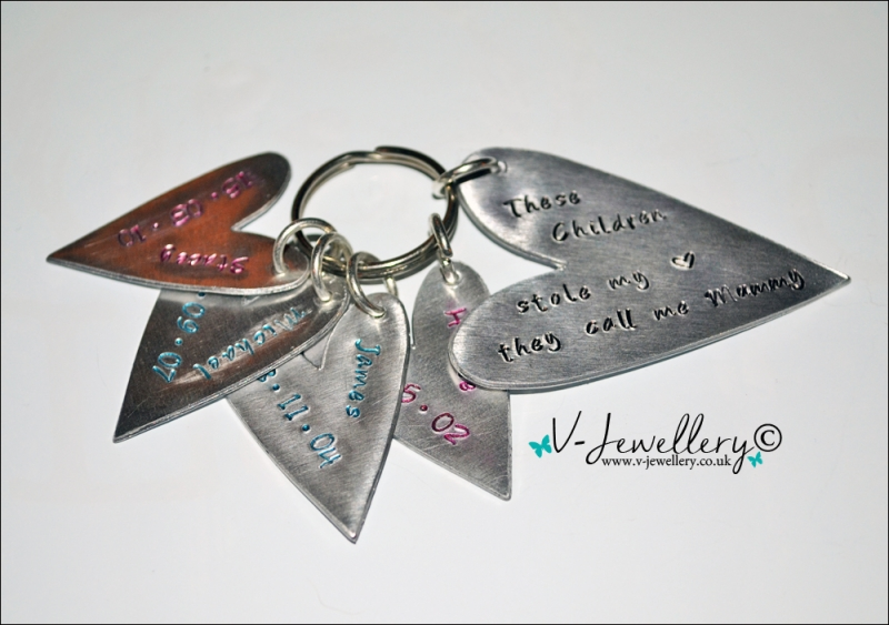 "Personalised""Stole My Heart & Changed My Name"" Hearts Keyring"