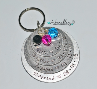 Personalised Hand Stamped Layered Discs XL Keyring *Higher Quality*