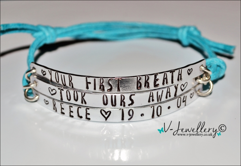 """""""Your First Breath"""" Hand Stamped Multi-Plate Bracelet"""