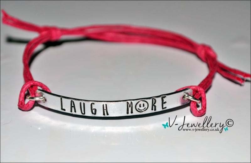 """Laugh More"" Hand Stamped Bracelet"