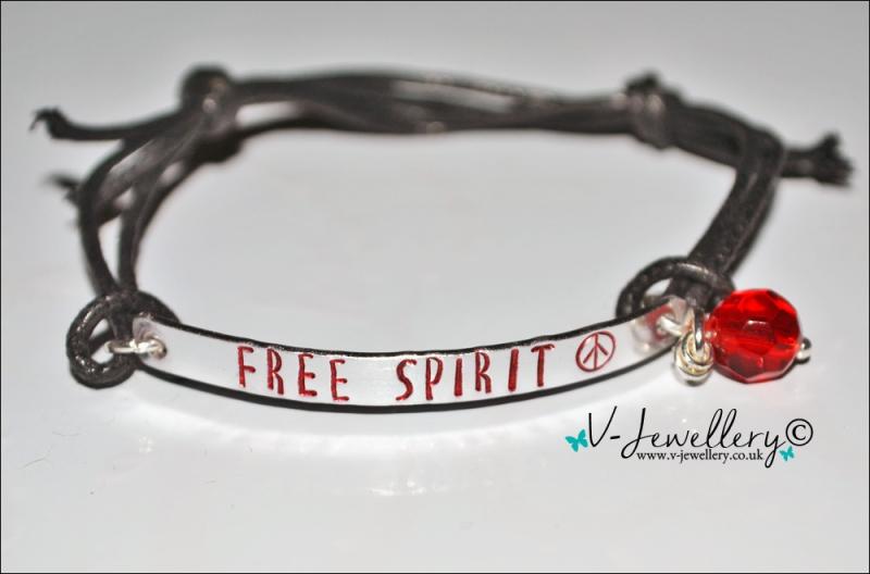 """Free Spirit"" Peace Symbol Hand Stamped Bracelet"