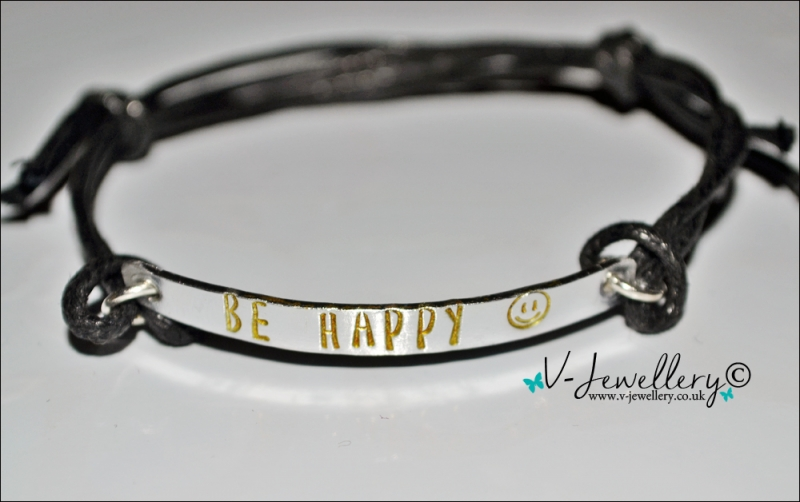 """Be Happy"" Hand Stamped Bracelet"