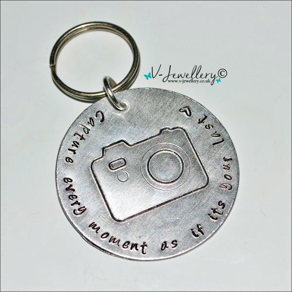 Personalised Etched Camera Large Keyring