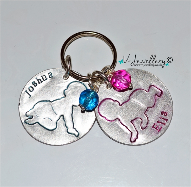 Personalised Etched Baby Silhoutte Disc Keyring