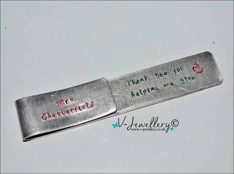 Personalised Hand Stamped Long Clip Bookmark
