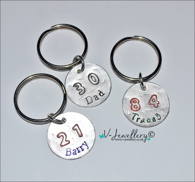 """Personalised Etched """"Number"""" Disc Keyring"""