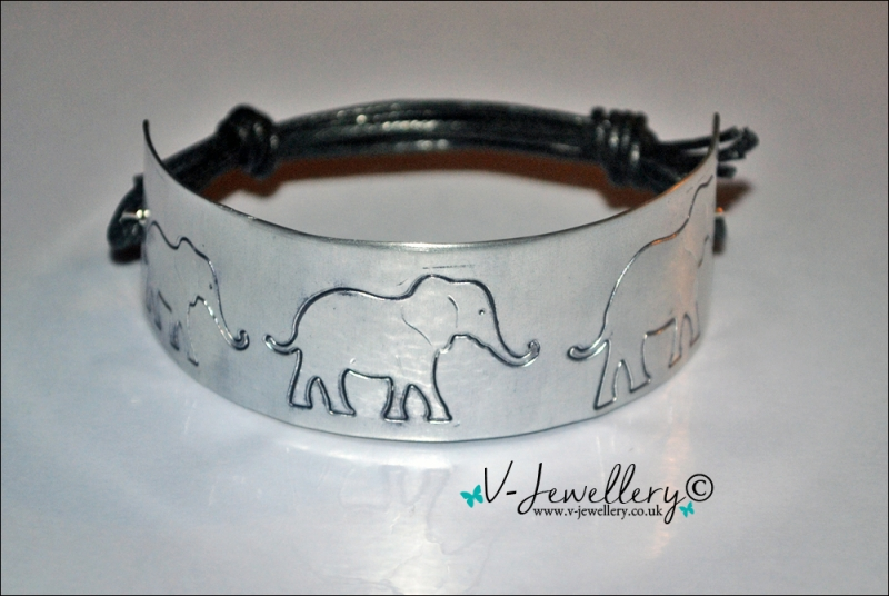 Personalised Etched Elephants Trail Cuff Bracelet