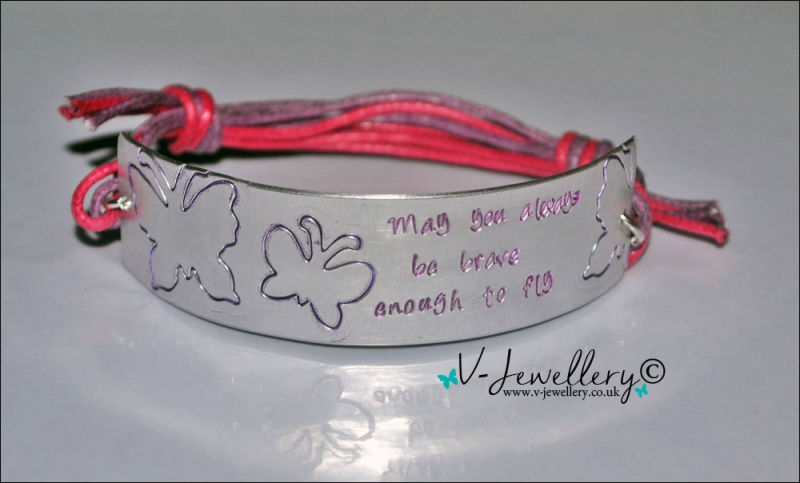 Personalised Etched Butterflies Cuff Bracelet