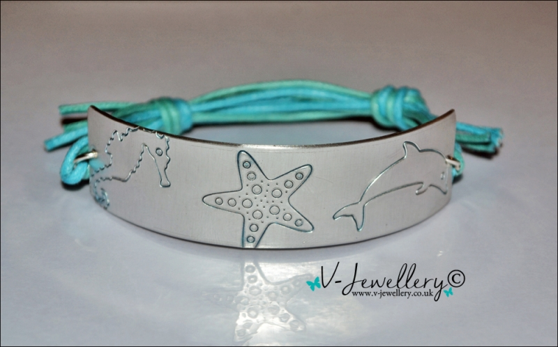 Personalised Etched Sealife Cuff Bracelet