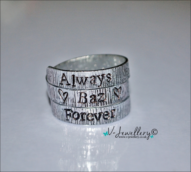 Personalised Hand Stamped Textured Wrap Ring
