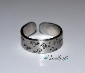 Birds Hand Stamped Thumb/Band Ring *Higher Quality*