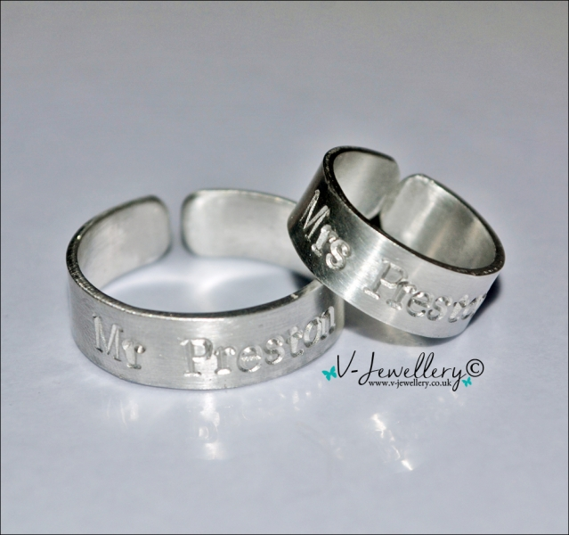 Personalised Couples Band Rings Set *Higher Quality*