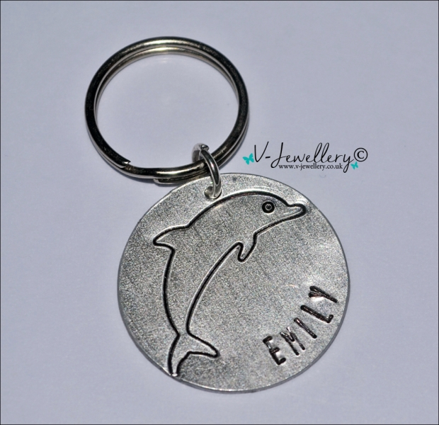 Personalised Etched Dolphin Disc Keyring