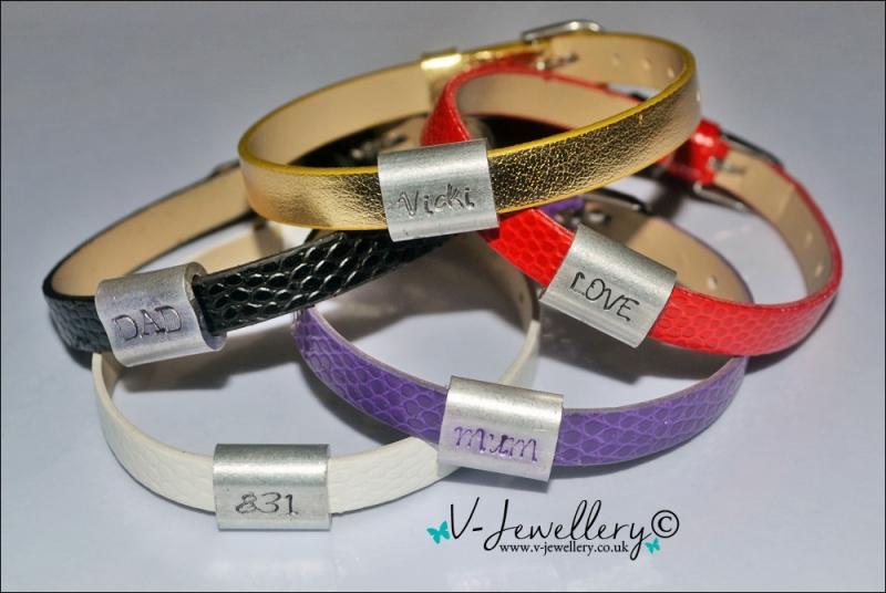 Personalised Slide Bead Charm Belt Bracelet *Faux Leather*