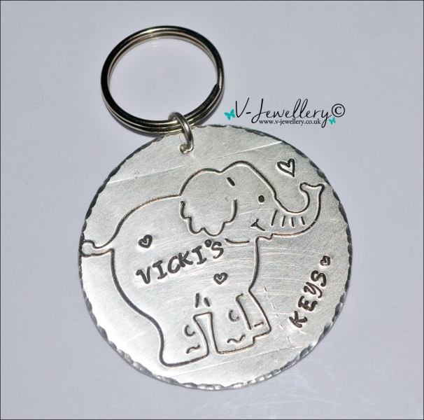 Personalised Etched Cute Elephant Extra Large Disc Keyring