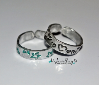 Design Hand Stamped Set of 2 Toe Rings  *Various Designs Available*