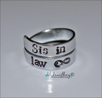 Sister-in-law Hand Stamped 2 Wrap Ring