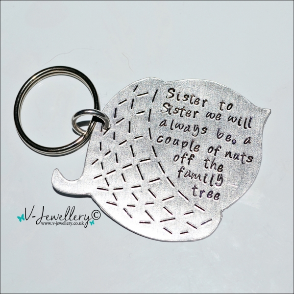 Personalised Large Etched Acorn Keyring