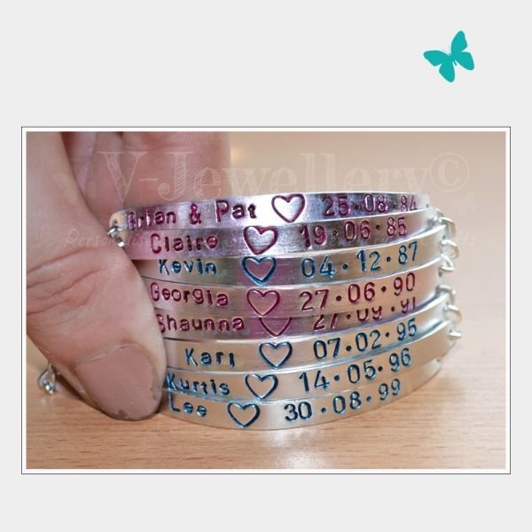 Personalised 8 Multi-Plate Hand Stamped Bracelet