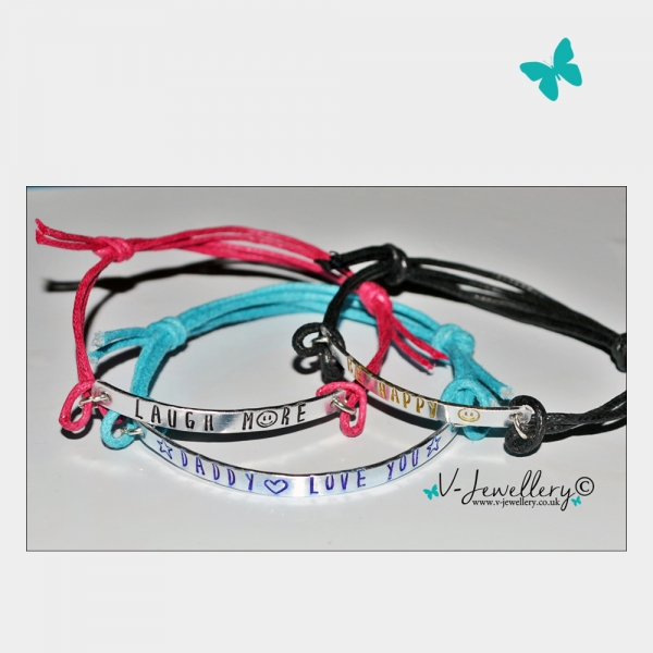Personalised Single Multi-Plate Hand Stamped Bracelet