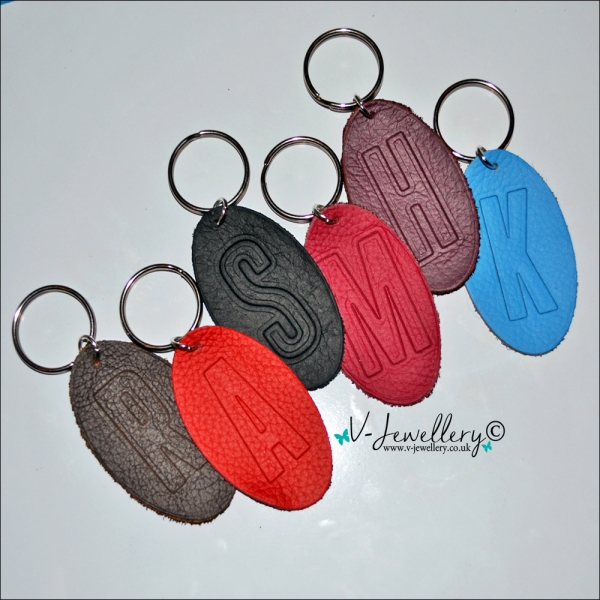 Personalised Initial Genuine Leather Oval Keyring