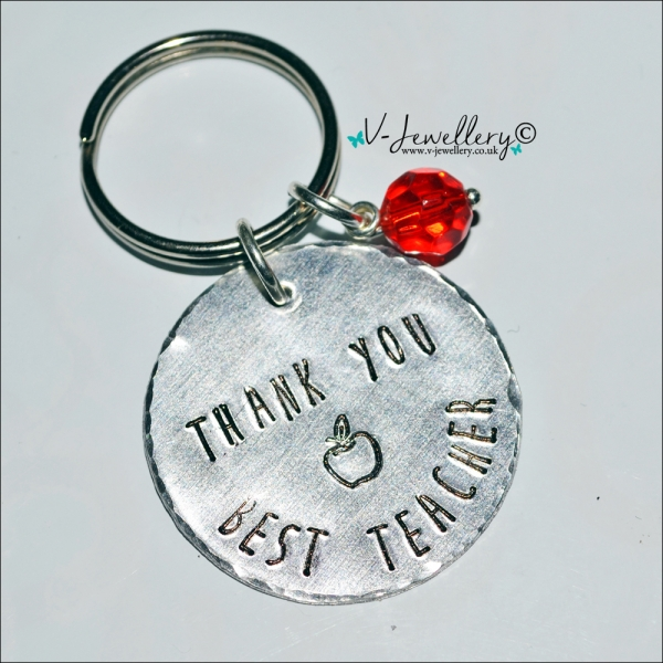 Personalised Hand Stamped Teachers Disc Keyring