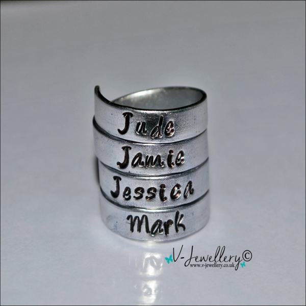 Personalised Hand Stamped 4 Wrap Ring