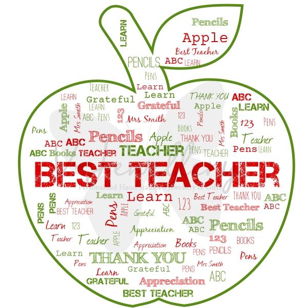 "Personalised A4 ""Teachers Apple"" Word-Art Print"