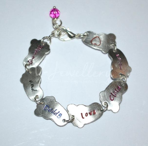 Personalised Embossed Baby Feet Link Bracelet