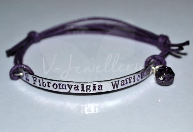 Fibromyalgia Awareness Hand Stamped Bracelet