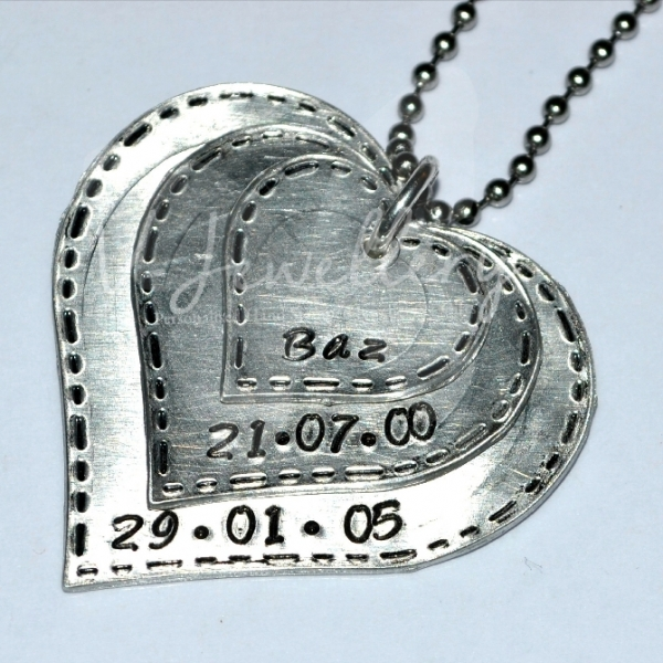 "Personalised Stitched Effect Layered ""Hearts"" Pendant 20"""