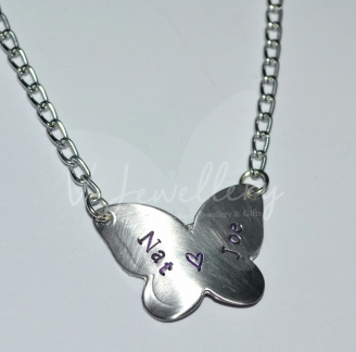 """Personalised Butterfly Pendant 20"""""""