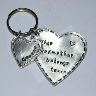 """Personalised """"belongs to..."""" Stitched Effect Hearts Keyring"""