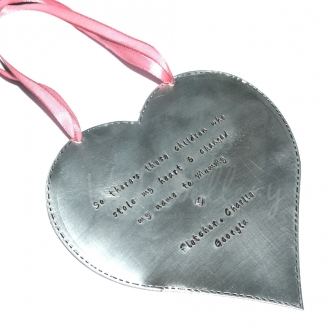 Personalised Stitched Effect XXL Hanging Heart Keepsake